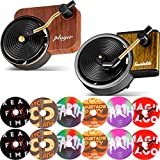 2 Pieces Car Retro Record Players Decors Car Fragrance Diffusers Clips in Retro Style Record Player Design, 12 Pieces Aromatherapy Tablets Aromatherapy Replacement Pads Included
