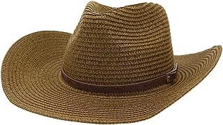 Fashion Hats, Caps,Elegant Hats, Natural Caps Men's Women's Sun Hat Western Fedora Hat Straw Hat Outdoor Beach Hat Sunscreen Visor Thin Belt Decoration Sun Hat (Color : Coffee, Size : 56-58CM)