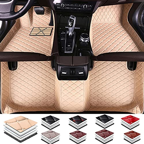 Adecuado para Mercedes Benz Clase C 2 puertas 2012-2013 alfombrillas de piel de lujo para todo tipo de clima cobertura completa resistente al agua antideslizante y antiincrustante Beige
