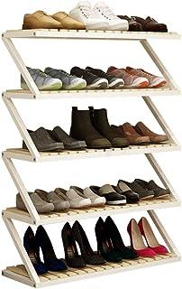 ZZYE Etagere a Chaussures Structure de Chaussures en Bois 5 Niveaux de Rangement Blanc Organisateur étagères Stocker Le Su...