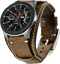 Leotop Compatible with Samsung Galaxy Watch 46mm/Gear S3 Frontier/Classic Bands, 22mm Replacement Genuine Leather Cuff Strap with Stainless Steel Metal Buckle for Men Women (Coffe)