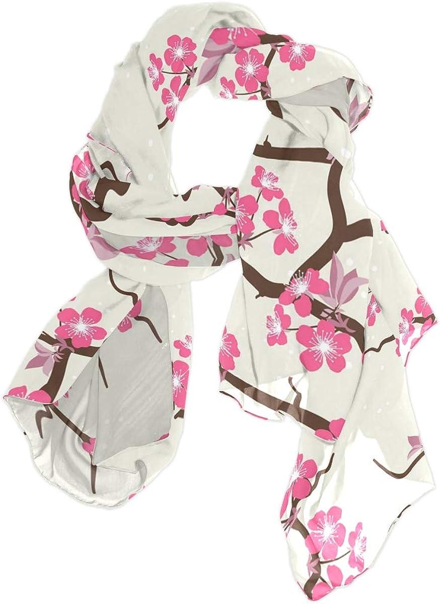 AUUXVA Fashion Scarf Cherry Blossom Japanese Floral Cherry Blossom Long Lightweight Sunscreen Scarf Shawl Wrap Muffler Neckerchief for Women Men