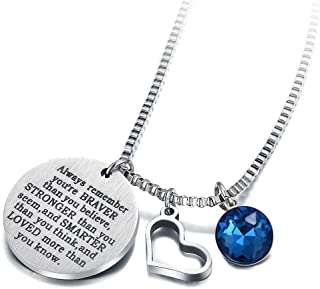 17mile Birthstone Necklace Stainless Steel Engraved Hypoallergenic Heart Zirconia Necklace Charm Birthday Gift for Women Girl