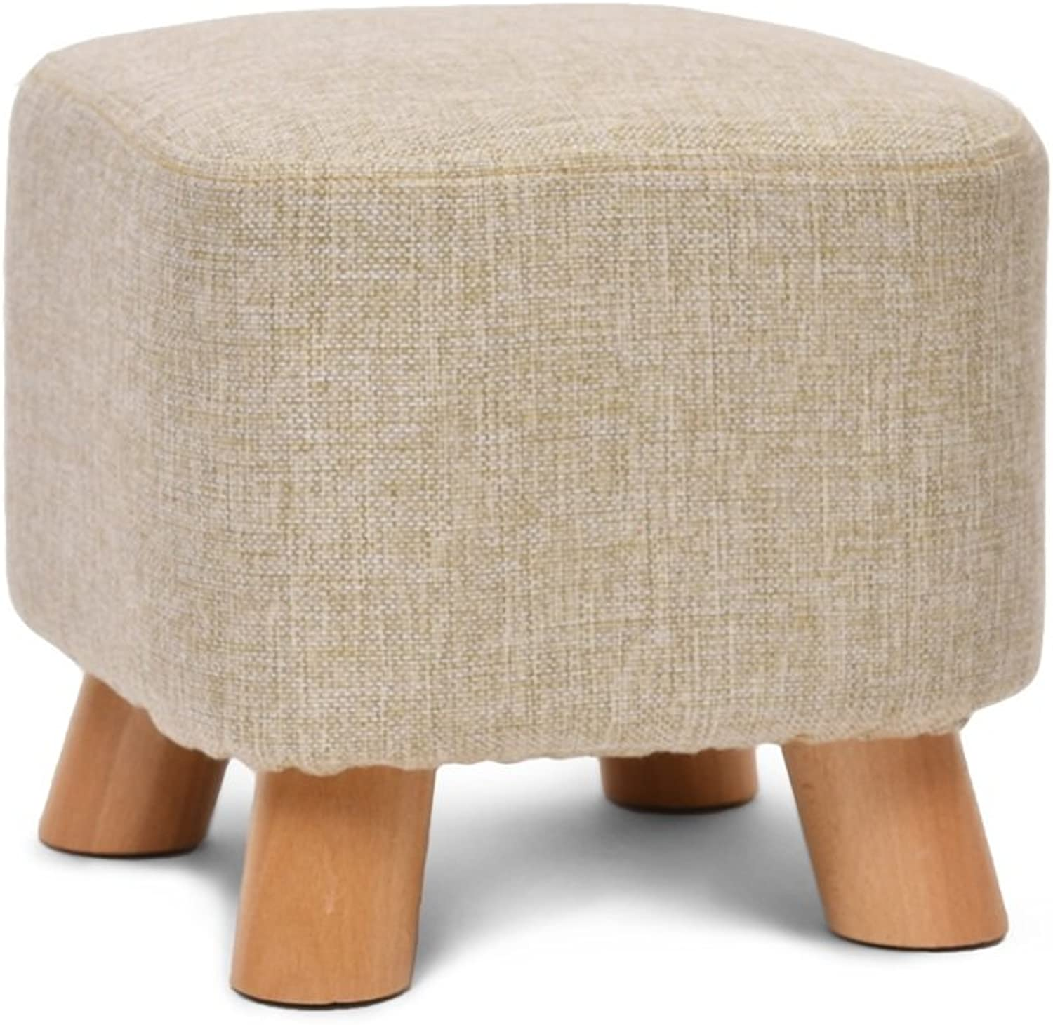 Footstools, Stool Solid Wood Footstool 4 Legs Detachable Linen Cover Padded Bed End Stool (color   A)