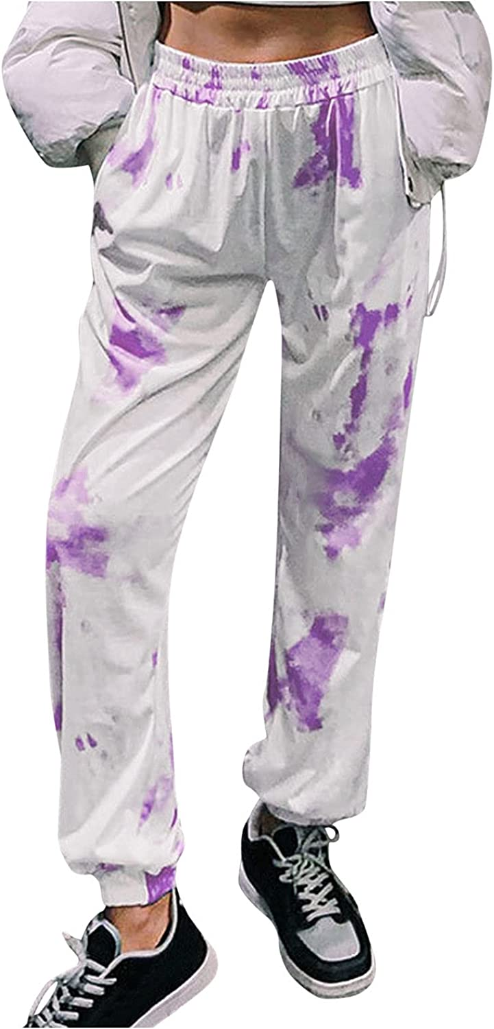 Lovor Joggers Pants for Women, Tie Dye Casual Active Lounge Drawstring Waist Yoga Sweatpants Loose Spots Pant with Pockets