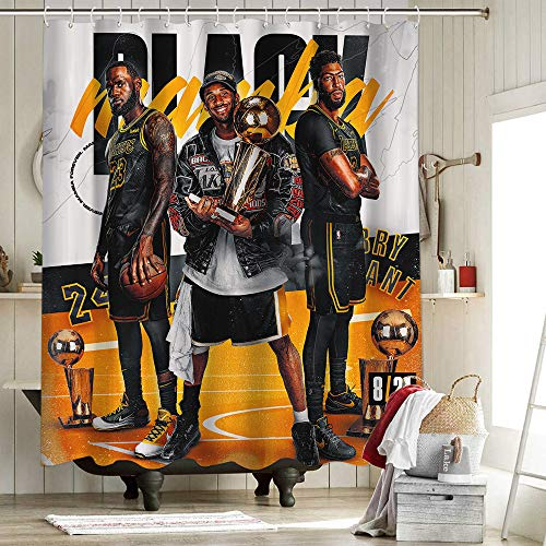 2020 FMVP Lebron James 23 Rd cortina de ducha Set de decoración de baño con ganchos Los Angeles Lakers Campeonato King Crown Art Sports Player Poster 72 x 72 pulgadas
