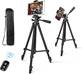 "Phone Tripod, Aureday 50"" Extendable Adjustable Smartphone & Tablet Tripod Stand with Phone Holder Mount & Remote, Compatible with Tablet/Cell Phone/Camera"