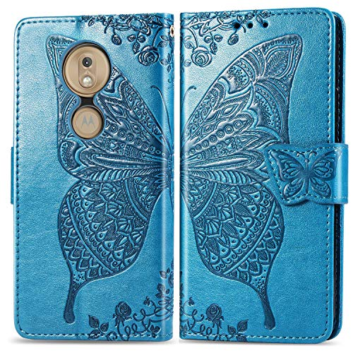 Leather Wallet Case for Moto G7 / G7 Plus Wallet Case With Card Holder Side Pocket Kickstand, Magnetic Closure Case Cover for Motorola Moto G7 / G7Plus - XISHD021011 Blue