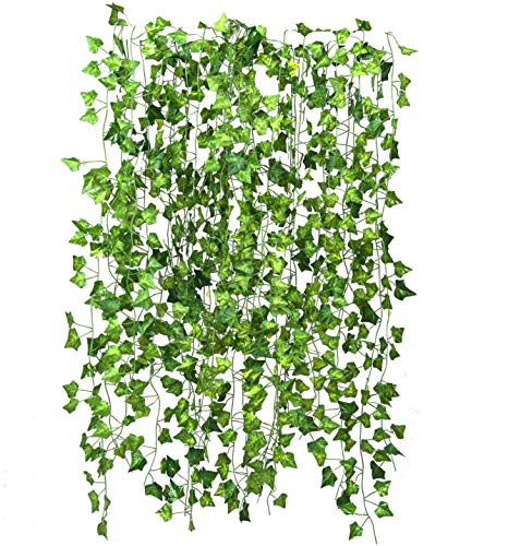 Niceclub 12 Packs Artificial Greenery Garland Fake Ivy Vine Hanging Plants Leaf Garland for Wedding Party Wall Decoration Indoor Outdoor (82 Ft)