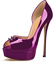 FSJ Women Super High Heels Platform Pumps Peep Toe Slip On D'Orsay Sandals Party Dress Shoes Size 4-15 US