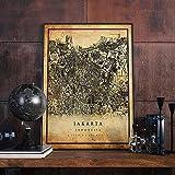 MG global Jakarta Vintage Landkarte Poster Wandkunst | City