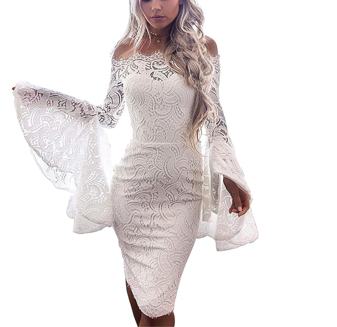 Mycherish Women's Sexy Lace Dress with Long Flowy Sleeve Off Shoulder Crop Tops Bodycon Fancy Dress Skirts