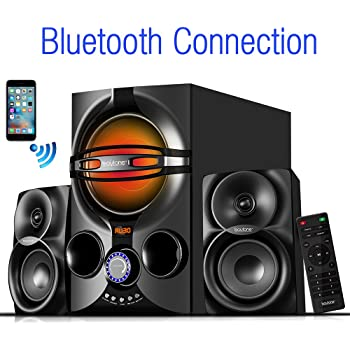 Amazon Com Boytone Bt 326f 2 1 Bluetooth Powerful Home Theater Speaker System With Fm Radio Sd Usb Ports Digital Playback 40 Watts Disco Lights Full Function Remote Control For Smartphone Tablet Electronics