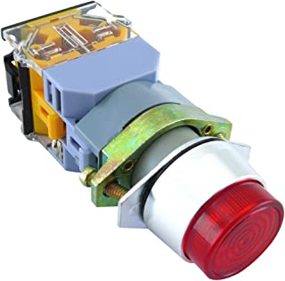 YuCo YC-P22XPMO-IR-1 22mm Push Button Metal Momentary Illuminated 24V AC/DC, Push to Test Extended Included 1NO/1NC Contact Blocks, IEC 947 Certificated 250V Maximum, Contact 10Amp, Red
