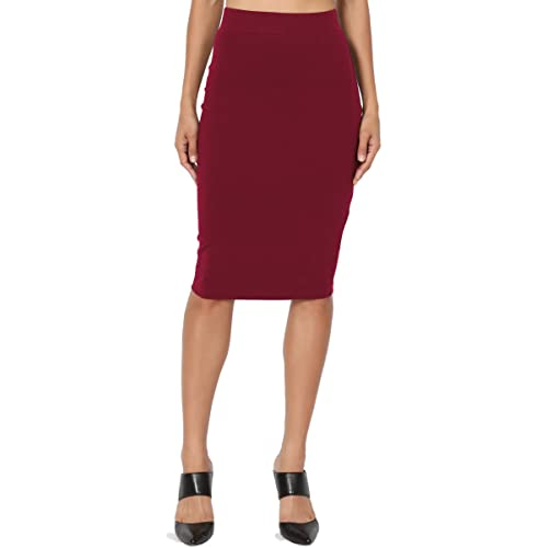 ee653f16cdc322 TheMogan Basic Comfort Stretch Cotton Elastic High Waist Knee Midi Pencil  Skirt