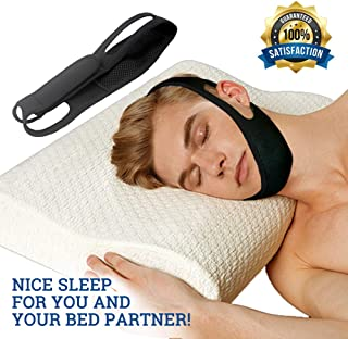 Anti Snoring Chin Strap - Snore Solution Reduction Sleep Aids - Adjustable Snore Devices for Men and Women (Black)