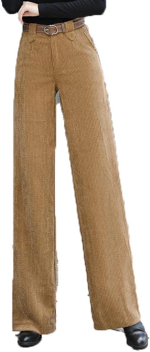 Lisskolo Women's High Waist Wide Leg Corduroy Pants Casual Straight Long Trouser with Pockets