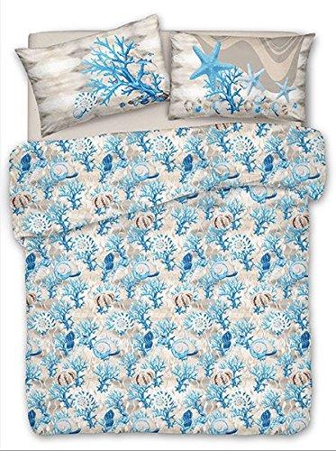 Smartsupershop Frühlings-Sommer-Tagesdecke für Doppelbett, 260 x 280 cm, Muscheln aus Baumwolle, Jacquard, hergestellt in Italien