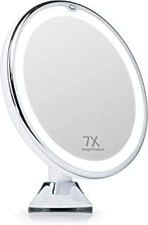 Fancii 7X Magnifying Lighted Makeup Mirror with Natural LED Lights, Locking Suction, Cordless Travel Vanity Mirror (Maya)