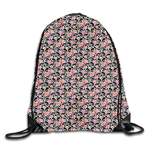 Drawstring Backpack Bag for Men Women,Paisley Style Pattern Of Water Splashes Ombre Motifs With Floral Influences,Great for Yoga, Travel, Hiking, Beach Bags
