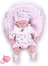 Pompon 16 Inch Vinyl Silicone Baby Doll Newborn Real Baby Doll Reborn Baby Doll Realistic Baby Dolls Life Like Reborn Pacifier Doll Lovely Baby Pink Sleep Reborn Baby Dolls