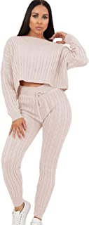 Womens Cable Knitted Cropped Top Bottoms Co-Ord 2 Pcs Suit Loungewear Tracksuit
