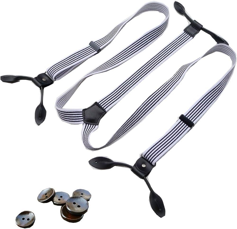 Casual Striped Suspenders Braces Adjustable Six Button Holes 0.98