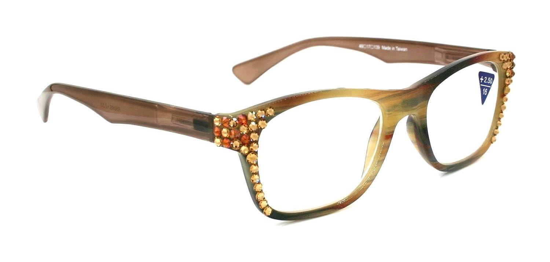 Kelly mart Hazel Marbled Bling Square Women 5% OFF Glasses Genuin w Reading