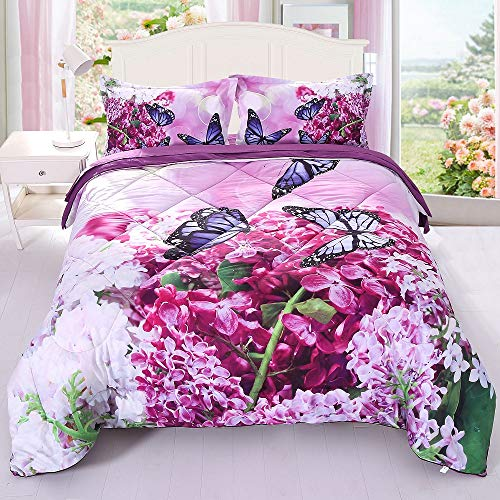 ENCOFT Purple Orchid Flower and Butterfly Comforter Sets 3 Piece, Twin Bed Quilted Bedspread/Quilt Comforter Sets