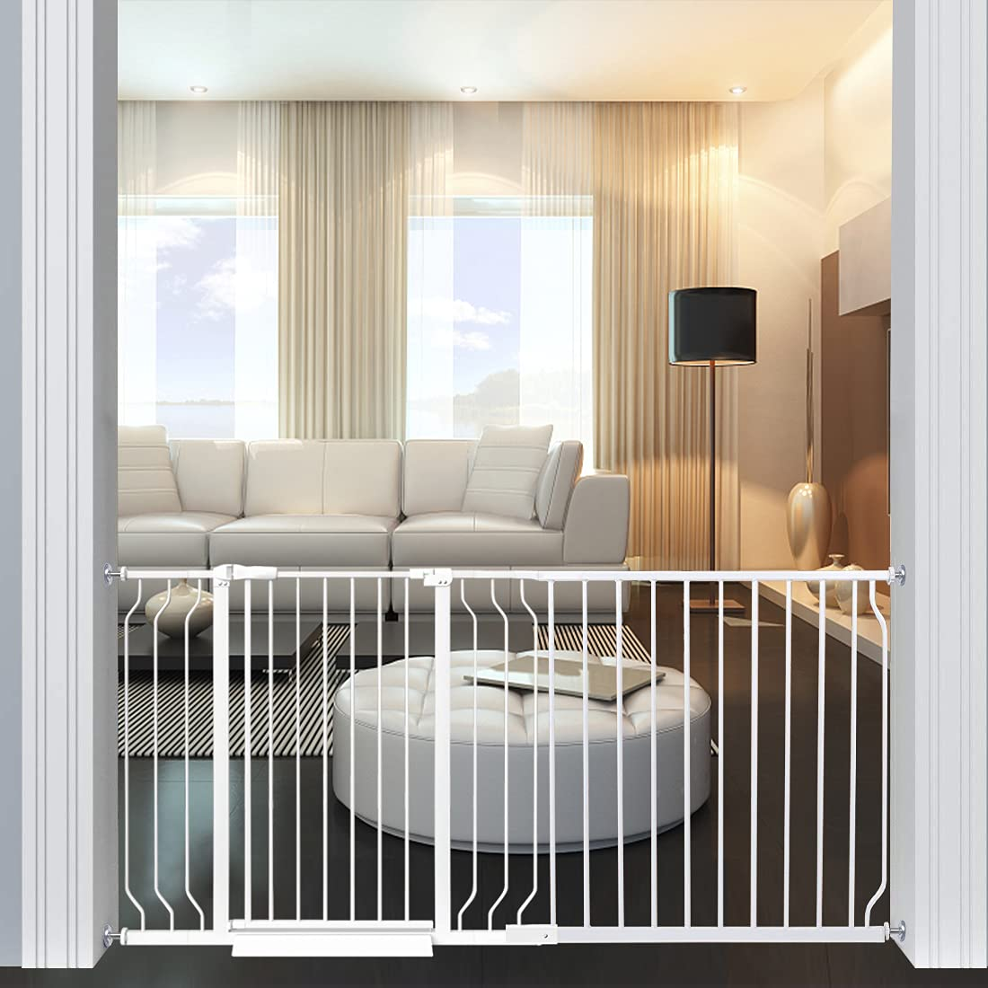 Extra Wide Baby Gate Dog Gate Pressure Mount White Black Metal Child Pet Gate Indoor Safety Gates for Stairs,Doorways,Kitchen and Living Room… (62