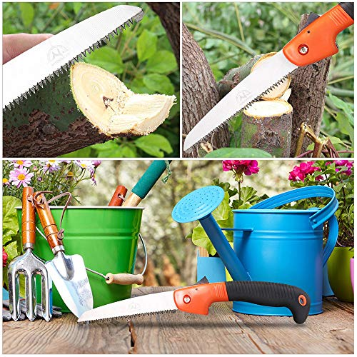 Folding Pruning Saw, Premium Folding Hand Saw with Secure Lock Comfort Soft Grip for Garden or Tree Pruning, Camping, Wood Working