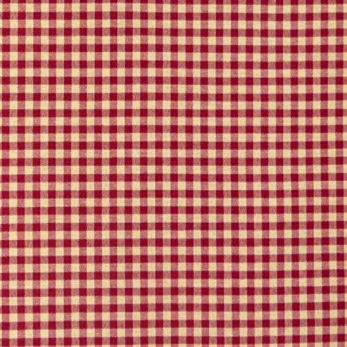 Dekostoff Dobby Landhausstoff Karostoff Meterware kariert rot beige 1,40m breit