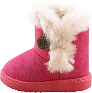 Baby Girls Boys Warm Winter Flat Shoes Faux Fur Snow Boots Soft Hiking Outdoor Shoes