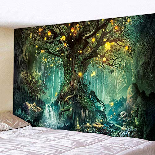 Naturer Baum des Lebens Wandteppich Wald 180x230cm Wandbehang Himmel in Wald Tapisserie Nacht Psychedelic Boho für Wohnzimmer Schlafzimmer