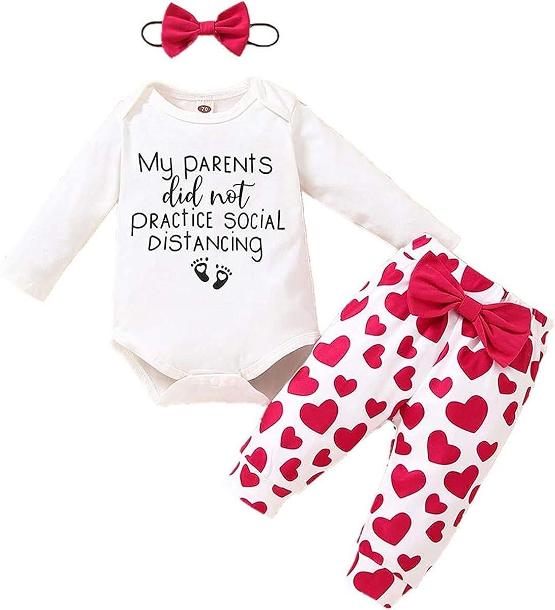 Newborn Baby Girls Boys Valentines' Day Outfits Hooded Sweatshirt Long Sleeve T-Shirt Top + Pants Set