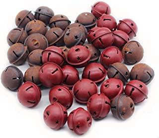 Country Primitive Craft Look Rusty Tin Jingle Bells for Christmas, Holiday or Everyday Crafting and Embellishing … (Rrusty Plus Red)