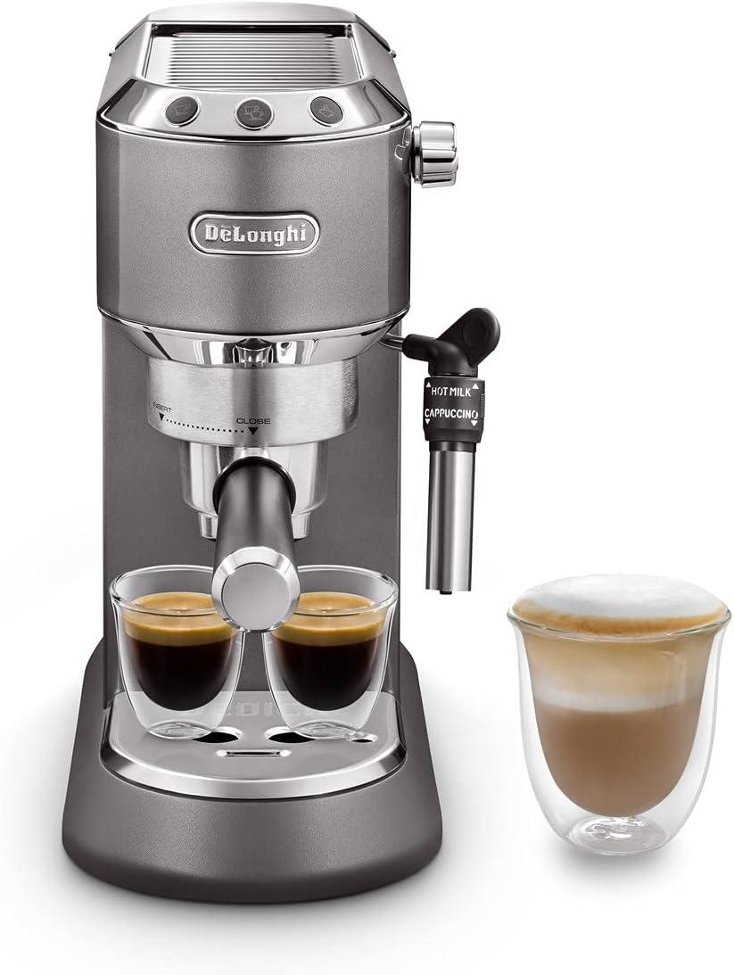 De'Longhi Dedica Style, Máquina Barista Tradicional de Café Espresso con Bomba, Cafetera y Cappucino, EC785.GY, Gris