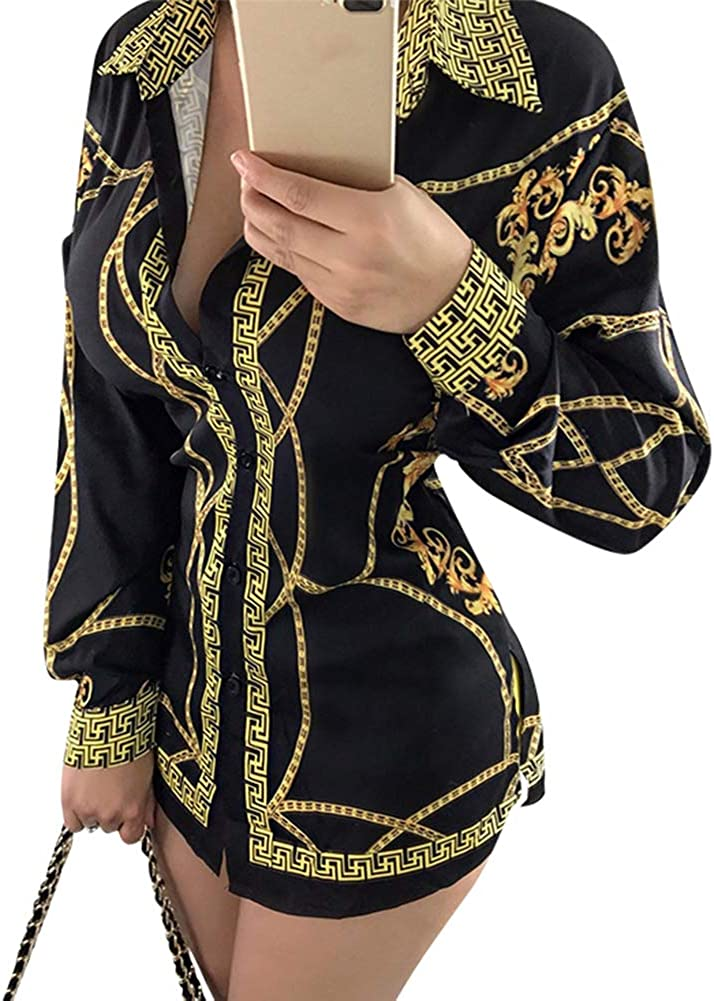 Aro Lora Women's Colorful Printed Button Down Long Sleeves Collared Shirts Blouses Tops
