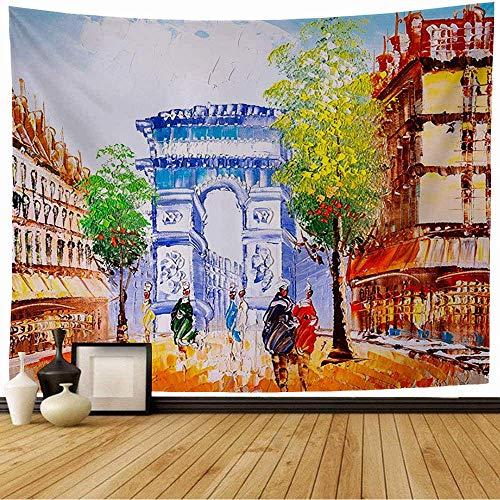 Tapiz de Pared Colorido Pastel Francia Pintura al óleo Vista de la Calle París Acuarela Turismo francés Arco Abstracto Arco Tapiz Colgante de Pared Tapiz de Playa para decoración del hogar