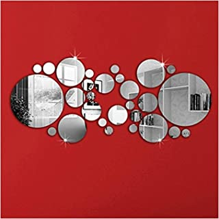 OMGAI DIY Mirror Wall Sticker, Removable Round Acrylic Mirror Decor of Self Adhesive Circle for Art Window Wall Decal Kitchen Home Decoration, 30Pcs