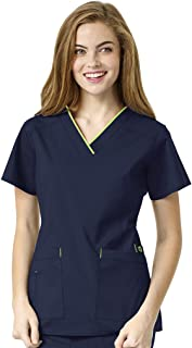 Size Wonderflex Plus Peace Contrast V-Neck Women's Scrub Top