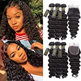 QTHAIR 12A Peruvian Loose Deep Wave Human Hair with Closure(16 18 20+14 Free Part Closure,Natural Black) Peruvian Loose Deep Wave Virgin Hair Weave with 4x4 Swiss Lace Closure with Baby Hair