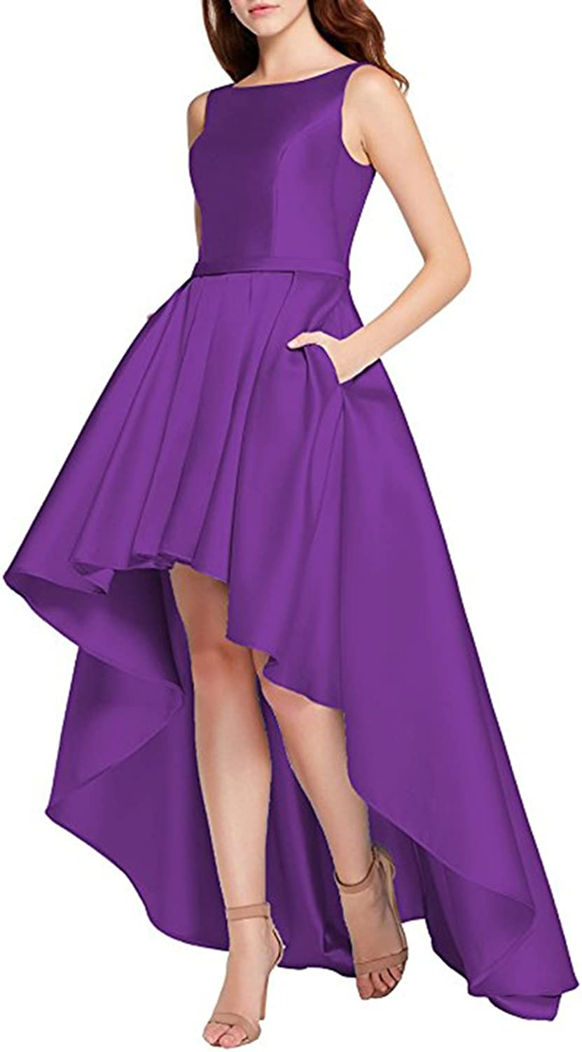 Alilith Z Sexy Open Back High Low Satin Prom Dresses Long Formal Evening Dresses