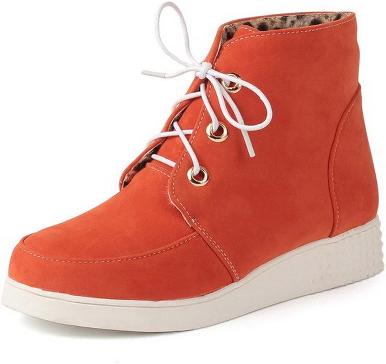 WeenFashion Women's Solid Imitated Suede Low-Heels Lace-Up Round Closed Toe Boots