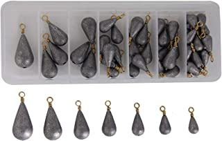 JSHANMEI Sinkers Weight Set with Fishing Box Bass Casting Lead Fishing Sinker with Ring Carp Fishing Water Drop Shaped Weights Saltwater 7 Sizes 54pcs