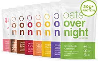 Oats Overnight - Party Pack Variety (8 Pack) High Protein, Low Sugar Breakfast Shake - Gluten Free, Non GMO Oatmeal (2.7oz per pack)