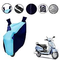 Auto Pearl Cyan Blue Matty Bike Body Cover with Mirror Pockets Buckle Belt For – Suzuki Access