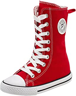 Girl Tall Punk Canvas Sneakers Lace up High Boots(Toddler/Little Kid/Big Kid)