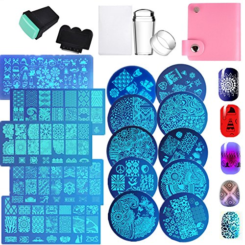 15pcs Nail Stamp Plates set 15 plate 2Stamper 2Scraper 1storage bag Nails Art Stamping Plate Scraper Stamper Set Leaves Flowers Animal Nail plate Template Image Plate