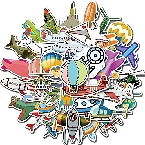 SHUYE Pegatinas de la Serie de Herramientas de Vuelo, calcomanías de Aprendizaje de tráfico de Dibujos Animados en Color, Pegatinas para Equipaje portátil, Scooter, Motocicleta, 40 Uds.